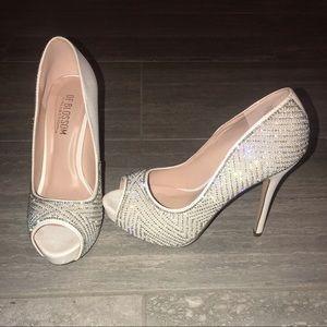 White & silver, rhinestone bridal / wedding shoes